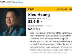 Tỷ phú Hoàng Kiều tụt 64 bậc trên bảng xếp hạng người giàu Mỹ